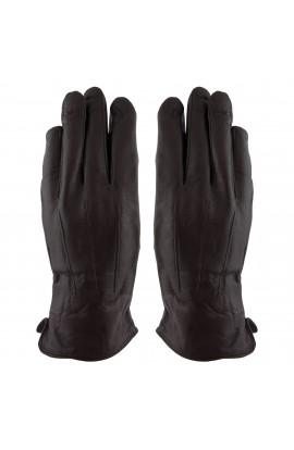 Manusi barbati, cu degete,Tita, din piele naturala, cu captusala imblanita, Maro inchis, marime L - MA52
