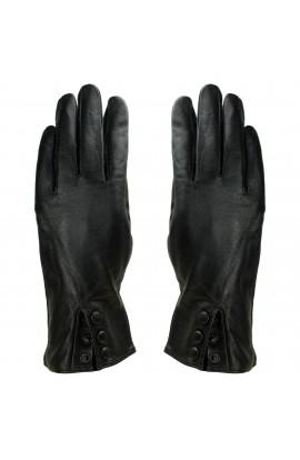 Manusi dama, cu degete,Tita, din piele naturala, cu captusala imblanita, Negru cu 3 capse, marimea M - MA63