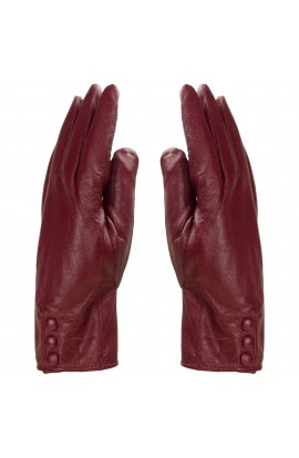 Manusi dama, cu degete,Tita, din piele naturala, cu captusala imblanita, Bordo cu 3 capse, marimea M - MA68