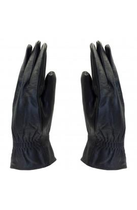 Manusi barbati, cu degete,Tita, din piele naturala, cu captusala imblanita, Negru cu banda elastica, marime XXL - MA84