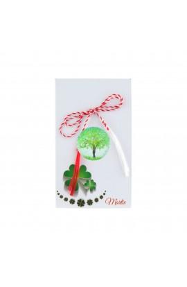 Martisor, Brosa, din rasina, cu copacel verde - MR202