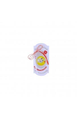 Martisor, Brosa, din rasina, galben cu dalmatian - MR206