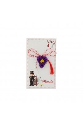 Martisor Brosa, Crosetat Manual, Buticochet, Floare Mov cu galben, MR490