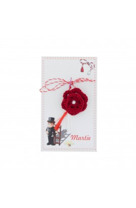 Martisor Brosa, Crosetat Manual, Buticocochet, Floare Red cu Biluta Alba , MRRD09