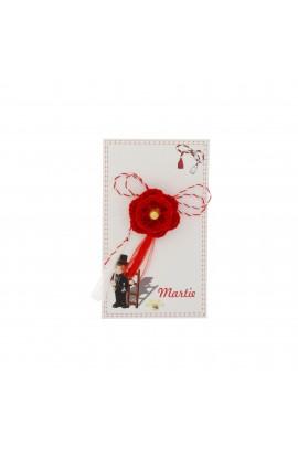 Martisor Brosa, Crosetat Manual, Buticcochet, Floare Rosie cu Biluta , MRRS01