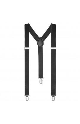 Bretele slim unisex, negru, cu inchizatori metalice, 25 mm, BR01