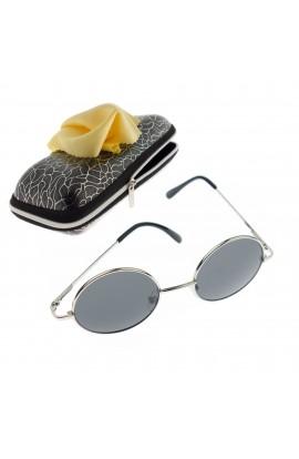 Ochelari de soare rotunzi, pentru copii, Argintii, rama metalica, lentila gri - OCS274