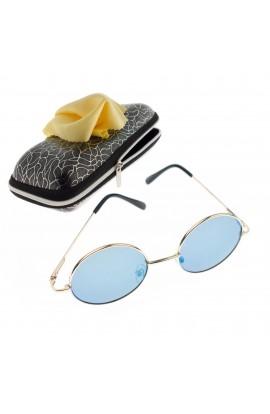 Ochelari de soare rotunzi, pentru copii, Auriu, rama metalica, lentila albastru oglinda - OCS276
