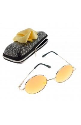 Ochelari de soare rotunzi, pentru copii, Auriu, rama metalica, lentila roz oglinda - OCS279