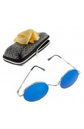 Ochelari de soare rotunzi, unisex, Argintiu, rama metalica, lentila albastru oglinda - OCS284