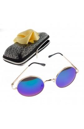 Ochelari de soare rotunzi, unisex, Auriu, rama metalica, lentila verde oglinda - OCS285