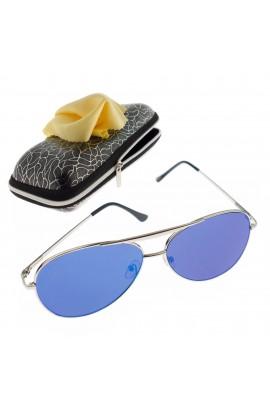 Ochelari de soare, unisex, Argintiu, rama metalica, lentila albastru oglinda - OCS289
