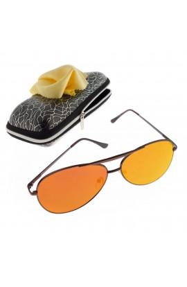 Ochelari de soare, unisex, Maro, rama metalica, lentila roz oglinda - OCS290