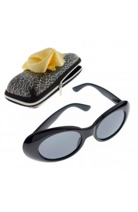 Ochelari de soare, model oval, Dama, Negru, lentila gri - OCS293