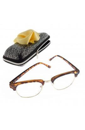 Ochelari cu lentila transparenta, unisex, Havana cu detalii aurii - OCS296