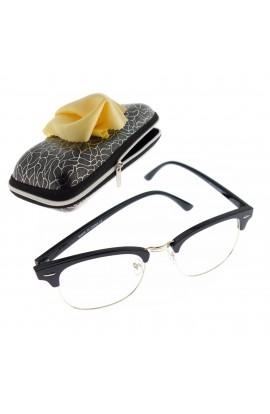 Ochelari cu lentila transparenta, unisex, Negru cu detalii aurii - OCS297