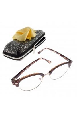Ochelari cu lentila transparenta, unisex, Maro cu detalii aurii - OCS298