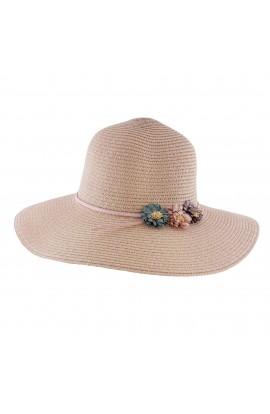 Palarie plaja, soare, de dama, Roz , cu floricele colorate, din paie de hartie - PAL218