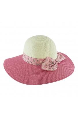 Palarie plaja, soare, de dama, Roz, fundita cu floricele, din paie de hartie - PAL222