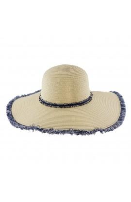 Palarie plaja, soare, de dama, Bej cu franjuri bleumarin, din paie de hartie - PAL227