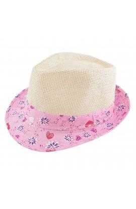 Palarie plaja, soare, de copii, Bej cu bor textil roz, din paie de hartie - PAL240