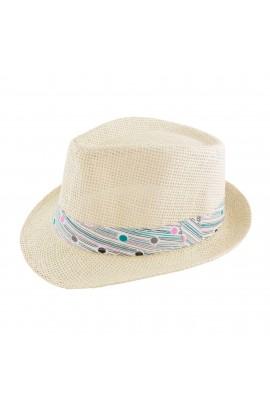 Palarie plaja, soare, de copii, Bej cu banda textila, din paie de hartie - PAL242