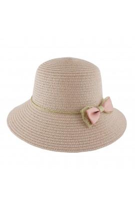 Palarie plaja, soare, de copii, Roz cu fundita, din paie de hartie - PAL249