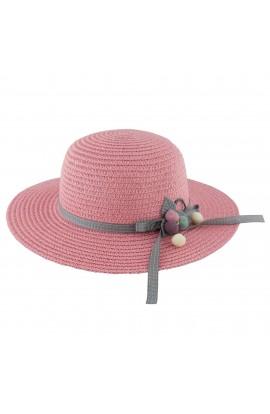 Palarie plaja, soare, de copii, Roz, din paie de hartie - PAL250
