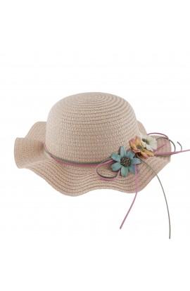 Palarie plaja, soare, de copii, Roz pudra cu floricele, din paie de hartie - PAL252