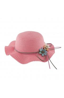 Palarie plaja, soare, de copii, Roz cu floricele, din paie de hartie - PAL253