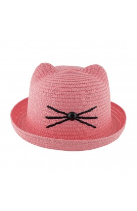 Palarie plaja, soare, de copii, Roz cu mustati brodate, din paie de hartie - PAL255