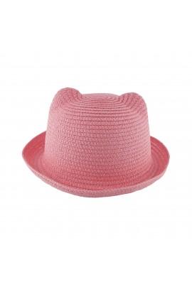 Palarie plaja, soare, de copii, Roz cu urechi, din paie de hartie - PAL256