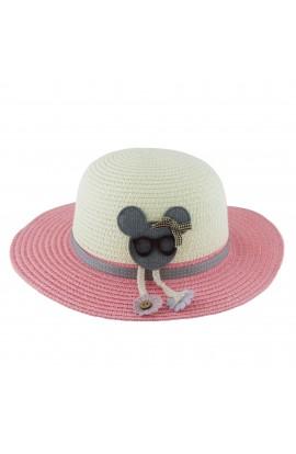 Palarie plaja, soare, de copii, cu ursulet, din paie de hartie - PAL260