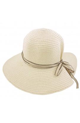 Palarie plaja, soare, de dama, Bej cu fundita - PAL262