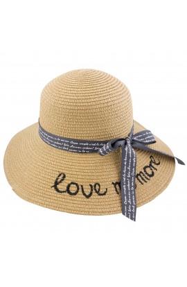Palarie plaja, soare, de dama, Maro, Love me more, din paie de hartie - PAL263
