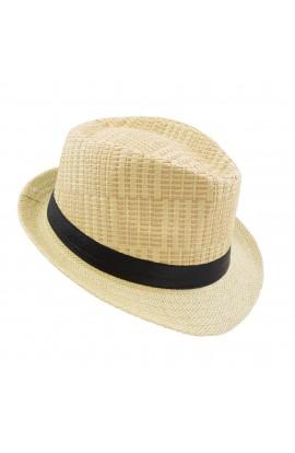 Palarie plaja, soare, barbateasca, din paie de hartie, Bej cu banda textila - PAL266