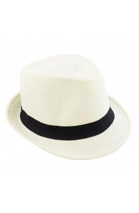 Palarie plaja, soare, barbateasca, din paie de hartie, Crem cu banda textila neagra - PAL280