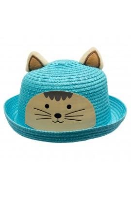 Palarie de soare, copii, cu urechi, model pisica, din paie de hartie, Anoul, Bleu - PAL390