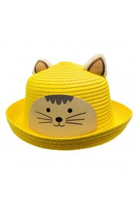 Palarie de soare, copii, cu urechi, model pisica, din paie de hartie, Anoul, Galben - PAL391