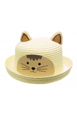 Palarie de soare, copii, cu urechi, model pisica, din paie de hartie, Anoul, Crem - PAL392