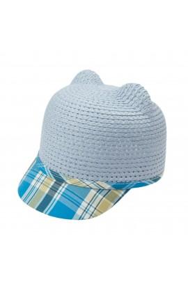 Sapca pentru copii, cu urechi, din paie de hartie, Albastru - PAL425