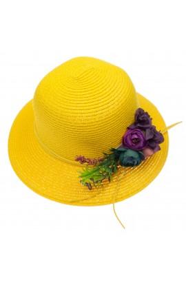 Palarie de soare, dama, bor mic, Anoul, Galben cu flori multicolore - PAL432