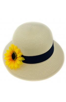 Palarie de soare, dama, bor mic, Anoul, Crem cu floarea soarelui, marime reglabila - PAL446