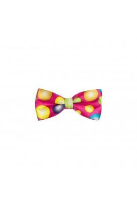 Papion pentru copii, Buticcochet, Roz cu buline colorate, 9x5 cm - PAPC210