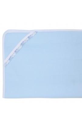 Patura bebelusi, polar, 70x80 cm, Albastru cu dantela, PAT05