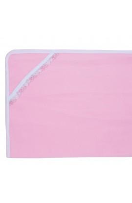 Patura bebelusi, polar, 70x80 cm, Roz cu dantela