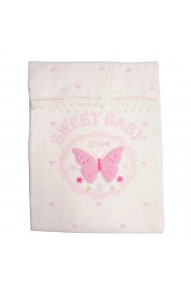 Paturica, Pled pentru bebelusi, Pedaliza baby, alb cu fluturas si inimioare roz