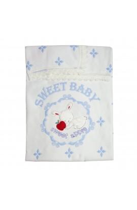 Paturica, Pled pentru bebelusi, Pedaliza baby, alb cu iepuras