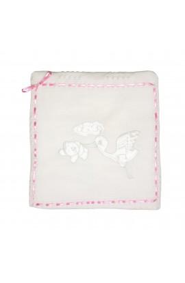Paturica, Pled pentru bebelusi, Mizmiz, alb cu panglica roz si barza, 90 x 97 cm