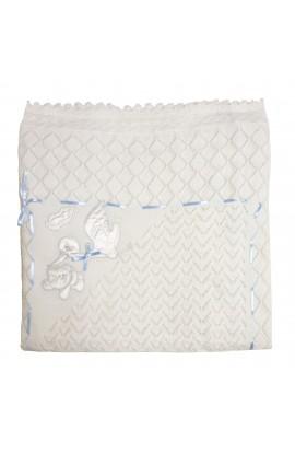 Paturica, Pled pentru bebelusi, MFS Triko, alb cu panglica albastra si barza, 98 x 91 cm